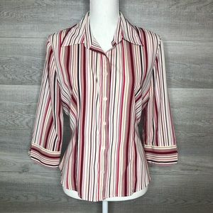 Bay Studio Button Up Top Pinks and White Medium